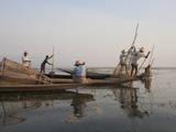 Intha Leg Rowing Fishermen at Dusk, Inle Lake, Nyaungshwe, Shan State, Myanmar (Burma), Asia Photographic Print by Stephen Studd