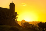 Backlit Watchtower of the Fortress of Fortaleza San Felipe, Puerto Plata, Dominican Republic Photographic Print by Michael Runkel