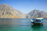Tourist Boat in Form of a Dhow Sailing in the Khor Ash-Sham Fjord, Musandam, Oman, Middle East Photographic Print by Michael Runkel