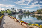 Moon Embracing Pavilion and Suocui Bridge at Black Dragon Pool, Lijiang, Yunnan, China, Asia Photographic Print by Andreas Brandl