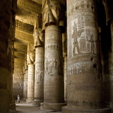The Outer Hypostyle Hall in the Temple of Hathor, Dendera Necropolis, Qena Photographic Print by Tony Waltham