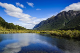 Mountains Reflecting in the Mirror Lakes, Eglinton Valley, Fiordland National Park Photographic Print by Michael Runkel