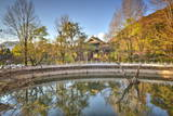 Golden Reflections with Pool, Trees and Pagoda at Jade Spring Park in Lijiang, Yunnan, China, Asia Photographic Print by Andreas Brandl