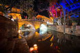 Dashi Bridge in Lijiang at Night, Yunnan, China, Asia Photographic Print by Andreas Brandl