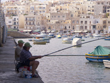 Two Men Fishing, Marsaskala, Malta, Mediterranean, Europe Photographic Print by Nick Servian