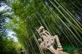 Stone Qi Ling Statue, a Mythical Lion, at Yunqi Bamboo Forest in Hangzhou, Zhejiang, China, Asia Photographic Print by Andreas Brandl
