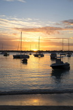Sunset over the Indian Ocean with Boats in Silhouette on the Calm Water Off the Beach at Gran Baie Reproduction photographique par Lee Frost