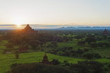 Temples on Bagan Plain at Sunrise, Bagan (Pagan), Myanmar (Burma), Asia Photographic Print by Christian Kober