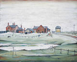 Landscape with Farm Buildings, 1954 Giclée-Druck von Laurence Stephen Lowry