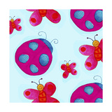 Ladybugs and Butterflies Pattern Giclee Print