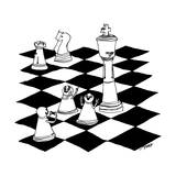 On a chessboard, a pawn poses for a photograph in front of the King. - New Yorker Cartoon Premium Giclee Print by Edward Steed