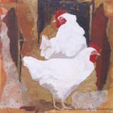 White Cockerels Giclee Print by Anuk Naumann
