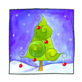 Pine Tree Decorated for Christmas Giclee Print