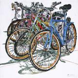 Lido Bikes Sextet Giclee Print by Micheal Zarowsky