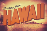Retro Greetings from Hawaii Postcard Posters by Mr Doomits