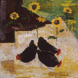 Chickens and Sunflowers Giclee Print by Anuk Naumann