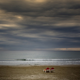 Deckchairs in Lonely Beach on Storm Day Photographic Print by i±aki de luis