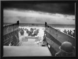 Digitally Restored World War II Photo of American Troops Approaching Omaha Beach Framed Photographic Print