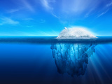 A Polar Bear on Top of a Natural Iceberg Glacier on the North Atlantic. Photographic Print by  Solarseven