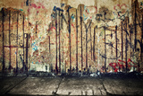 Grunge, Rusty Concrete Wall with Random Graffiti and Concrete Floor. Grunge Background Poster by PHOTOCREO Michal Bednarek
