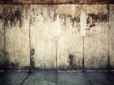 Grunge, Rusty Concrete Wall and Concrete Floor. Grunge Background Photographic Print by PHOTOCREO Michal Bednarek