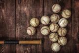 Old Vintage Baseball Background. Fotografisk tryk af  soupstock
