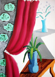 Still Life with Magenta Curtain Collectable Print by David Hockney