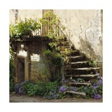 French Staircase with Flowers II Photographic Print by Marilyn Dunlap