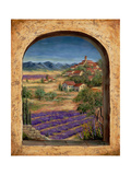 Lavender Fields and Village of Provence Photographic Print by Marilyn Dunlap
