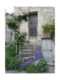 French Staircase with Flowers Photographic Print by Marilyn Dunlap