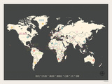 World Personalized Travel Map (includes stickers) Kunst van Rebecca Peragine