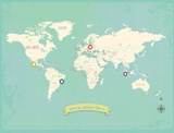 World My Travels Map (includes stickers) Posters by Rebecca Peragine