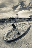 Tire with Desert Queen Hoist House and Mine in the Background, Tonopah Historic Mining Park Photographic Print by Green Light Collection