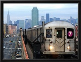 The Number 7 Train Runs Through the Queens Borough of New York Framed Photographic Print