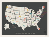 USA Personalized Travel Map (includes stickers) Prints by Rebecca Peragine