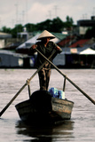 Fisherman on Mekong river (Vietnam) Photographic Print by Olivier De la Fresnoye