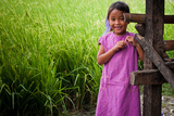 Girl and Rice Field Photographic Print