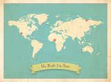My Roots World Map, blue version (includes stickers) Posters van Rebecca Peragine