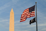 Washington Monument and American Flag Photographic Print by Richard T. Nowitz