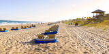 Lounge Chairs and Lifeguard Hut on the Beach, Delray Beach, Palm Beach County, Florida, USA Photographic Print by  Panoramic Images
