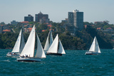 Sailboats in the Sea with City in the Background, Garden Island, Sydney, New South Wales, Australia Photographic Print by Green Light Collection