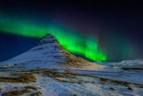 Aurora Borealis or Northern Lights over Mt Kirkjufell, Snaefellsnes Peninsula, Iceland Photographic Print by Green Light Collection