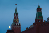 Spasskaya Tower with Moonrise, Kremlin, Red Square, Moscow, Russia Photographic Print by Green Light Collection