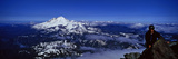 Climber on Mt Shuksan with Mt Baker in Distance, Cascade Range, Whatcom County, Washington State Photographic Print by  Panoramic Images