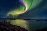 Green Light Collection - Northern Lights over Thingvallavatn or Lake Thingvellir. Thingvellir National Park. Iceland - Fotografik Baskı
