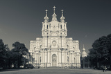 Facade of the Smolny Cathedral, Smolny, St. Petersburg, Russia Photographic Print by Green Light Collection