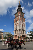 Horse and Trap Passing Wieza Ratuszowa, the 13th Century Town Hall Tower, Rynek Glowny the Main Photographic Print by Green Light Collection