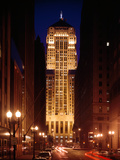 Buildings Lit Up at Night, Chicago Board of Trade Building, Lasalle Street, Chicago, Cook County Photographic Print by Green Light Collection