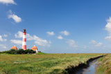 Lighthouse in a Farm, Westerheversand Lighthouse, Westerhever, Eiderstedt, Schleswig-Holstein Photographic Print by Green Light Collection