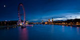 Ferris Wheel Lit Up at Dusk, Millennium Wheel, South Bank, Thames River, London, England Photographic Print by  Panoramic Images